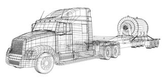 Low bed Truck Trailer. Cargo vehicle. Wire-frame. EPS10 format. Vector rendering of 3d vector illustration
