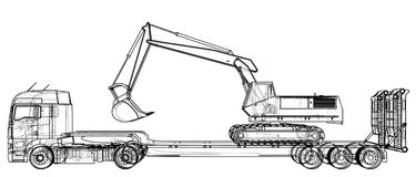 Low bed Truck Trailer and excavator. Abstract drawing. Wire-frame. EPS10 format. Vector created of 3d. Low bed Truck Trailer and excavator. Abstract drawing Stock Image