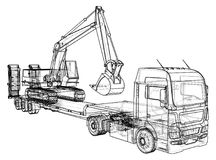 Low bed Truck Trailer and excavator. Wire-frame. EPS10 format. Vector created of 3d.  Royalty Free Stock Photos