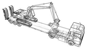 Low bed Truck Trailer and excavator. Wire-frame. EPS10 format. Vector created of 3d.  Royalty Free Stock Photo