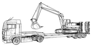 Low bed Truck Trailer and excavator. Wire-frame. EPS10 format. Vector created of 3d.  Royalty Free Stock Image
