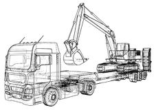 Low bed Truck Trailer and excavator. Wire-frame. EPS10 format. Vector rendering of 3d.  Royalty Free Stock Photography
