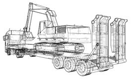 Low bed Truck Trailer and excavator. Wire-frame. EPS10 format. Vector rendering of 3d Stock Photography
