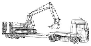 Low bed Truck Trailer and excavator. Wire-frame. EPS10 format. Vector rendering of 3d Royalty Free Stock Photo