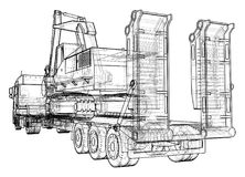 Low bed Truck Trailer and excavator. Wire-frame. EPS10 format. Vector rendering of 3d.  Royalty Free Stock Images