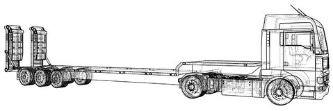 Low bed Truck Trailer. Wire-frame. EPS10 format. Vector rendering of 3d.  Stock Images