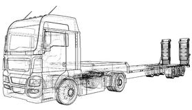 Low bed Truck Trailer. Wire-frame. EPS10 format. Vector rendering of 3d.  Stock Image