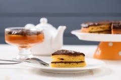 Low callorie pupmkin dessert and homemade layered pumpkin cake w Stock Image
