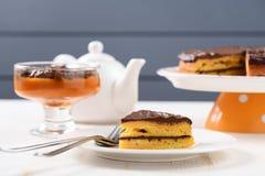 Low callorie pupmkin dessert and homemade layered pumpkin cake w Royalty Free Stock Photo