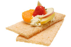 Low caloric open sandwich. Isolated on white. Background Royalty Free Stock Photo