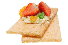 Low caloric open sandwich. Isolated on white Stock Photography