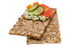 Low caloric open sandwich. Isolated on white Royalty Free Stock Photo