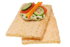 Low caloric open sandwich. Isolated on the white Stock Photo