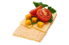 Low caloric open sandwich. Isolated on white. Background Stock Photos