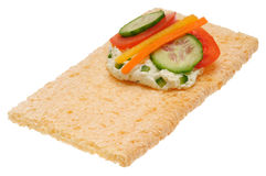 Low caloric open sandwich. Isolated on white. Background Stock Images
