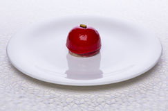 Low-calorie cake and red currant berries Royalty Free Stock Photo
