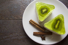Low-calorie dessert with kiwi souffle Royalty Free Stock Images