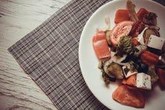 Low-calorie Griekse salade stock foto's