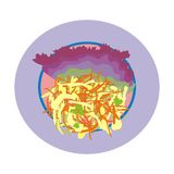 Low calorie salad. Illustration of a low-calorie salad Lolo Rosso and cabbage with carrots, sliced into strips, good for slimming Stock Images
