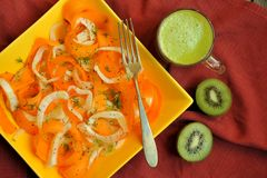 Low calories diet with fresh , vegan raw salad and fruit juice Royalty Free Stock Photography