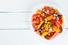 Low calories salad with chickpeas, tomatoes Stock Images