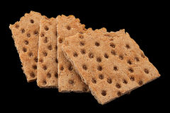 Low calories snack on black. Low calories snack bread isolated on black background Royalty Free Stock Photos