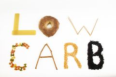 Low Carb. Carb letters stock images