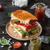 Low-carb bread sandwich Stock Images
