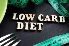 Low carb diet. Green plate with fork royalty free stock photo