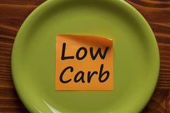 Low carb diet concept. Low carb written in orange sticky note on the green plate.Business concept.Top view royalty free stock image
