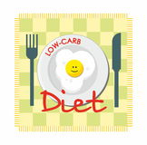 Low-carb diet with fried egg. Low-carb diet pattern with smiling fried egg Stock Image