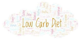 Word cloud with text Low Carb Diet on a white background. Low Carb Diet word cloud - illustration made with text only stock illustration