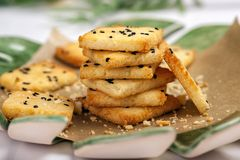 Low carb gluten free crackers stock photo