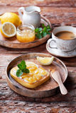 Low-carb gluten free homemade bread toast with butter and lemon jam Royalty Free Stock Photos