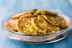 Low carb zucchini pancake Stock Image