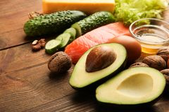Low carbs products for ketogenic diet royalty free stock image