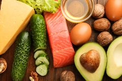Low carbs products for ketogenic diet stock images