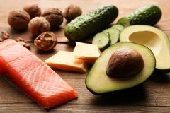 Low carbs products for ketogenic diet royalty free stock photos