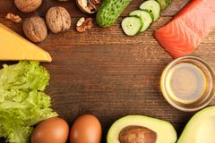 Low carbs products for ketogenic diet stock photo