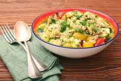 Low carbs Tuna Avocado Salad in glass bowl. Stock Image