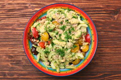 Low carbs Tuna Avocado Salad in glass bowl. Stock Photos