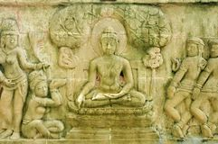 This is a Low Carving of Buddha`s biography. Have a image of Buddha Stock Images