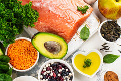 Low cholesterol food. Healthy heart nutrition. Space for text Royalty Free Stock Photo