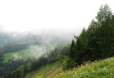 Low Cloud Over Carnic Alps Near Sauris Royalty Free Stock Image