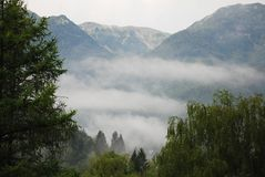 Low Cloud in Stara Fuzina Valley Royalty Free Stock Image