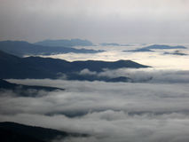 Low clouds. In Crimean mountains, Ukraine Stock Photo