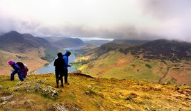 Low clouds covering the Buttermere Fells Royalty Free Stock Photos