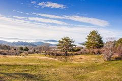 Low clouds in LA BARRANCA Spain. Low clouds in the sierra of guadarrama in the place called LA BARRANCA Spain Royalty Free Stock Images
