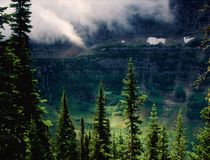 Low clouds in the Lewis Range from the Highline Trail, Glacier National Park, Montana royalty free stock image