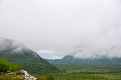 Low Clouds, Montenegro. Low clouds between mountains at the early morning (District Bar, Montenegro Royalty Free Stock Images